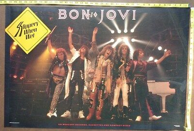 "BON JOVI Poster,24x36"",Very RARE Original,Record Company promo,Slippery when wet"