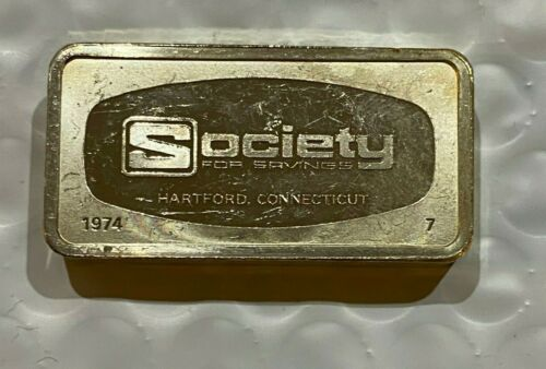 1974 Society for Savings Hartford CT 1000 Grains Solid Sterling Silver Bar