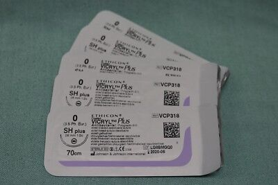 Plus Nahtmaterial (Nahtmaterial Nahtset NEU ETHICON VICRYL Plus 0 Medizin Faden Chirurgie Naht)