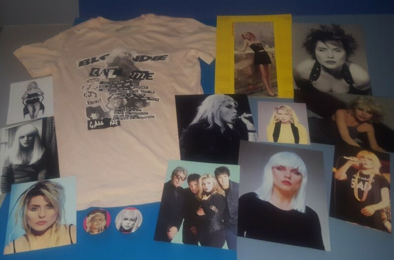 BLONDIE  T SHIRT, PHOTOS , VTG PROMO AUTOAMERICAN CALENDAR, 2 BUTTON