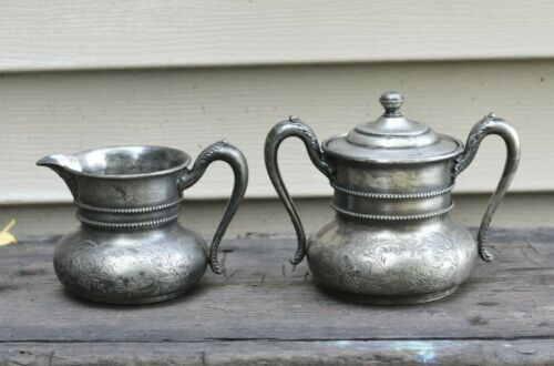 Forbes Silver Co. Quadruple Cream Pitcher w/ Sugar Bowl and Lid