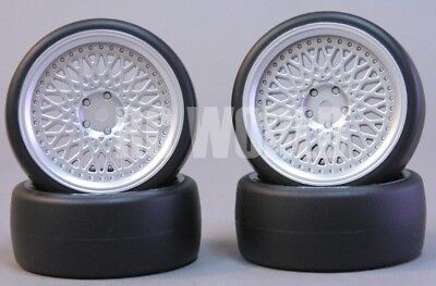 RC Car 1/10 DRIFT WHEELS TIRES Package 3MM Offset ALL SILVER BBS Style Rims