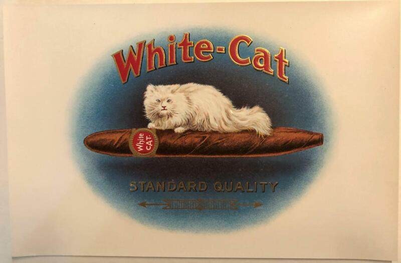 White Cat Inner Cigar Box Label Embossed Stone Litho Consolidated Brooklyn, N.Y.