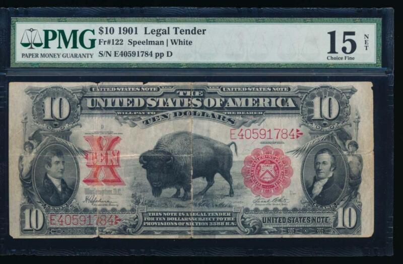 AC Fr 122 1901 $10 Legal Tender PMG 15 NET... BISON !!!