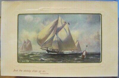 Vtg Art Postcard STATELY SHIPS Masted Sailing Yachts Tennyson Poem Quote Ser1172