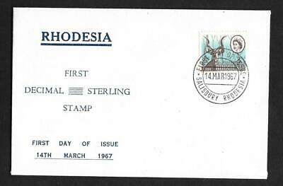 RHODESIA, 2 1/2c/3d FIRST DECIMASL/STERLING STAMP 1967 ILLUSTRATED FDC
