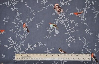 1/2 yard cotton quilt fabric Woodland Clearing Painted Birds Gray quilting sew