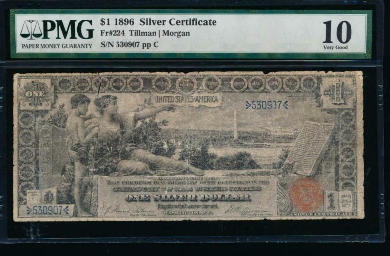 AC Fr 224 1896 $1 Silver Certificate EDUCATIONAL PMG 10