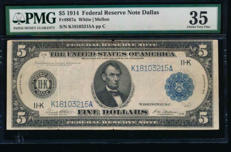 AC Fr 887a 1914 $5 Dallas FRN PMG 35