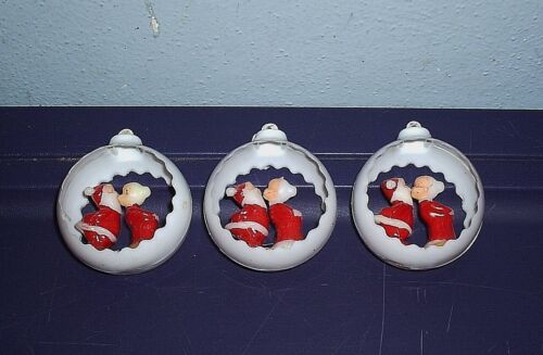 3 Vintage White Plastic Diorama Christmas Ornaments Santa Claus & Mrs Kissing