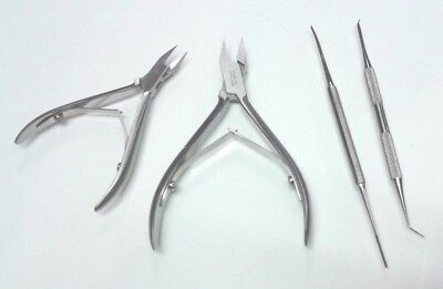 4 Pcs Kit Ingrown Nail Cutter Podiatry Instruments Ingrown Blacks File Lifter