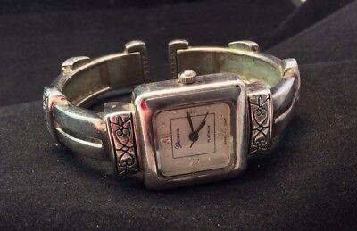 (Vintage Geneva Platinum Bangle Cuff Ladies Quartz New Battery Works)