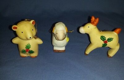Vtg Lot Homco Porcelain Christmas Ornaments Holiday Reindeer Bear Sheep