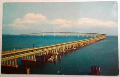 Postcard Mid 1900s Chesapeake Bay Bridge MD Del-Mar-Va Ocean Boat