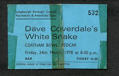1978 Whitesnake Unused Full Concert Ticket Snakebite Tour Redcar UK Trouble