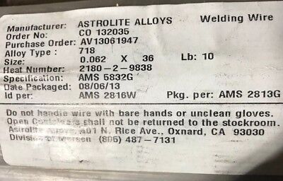 116 Super Alloy 718 Inconel Welding Wire Gtaw 2-18 Pieces. Tig Heli-arc