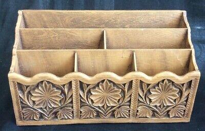 Vintage Wood Grain Letter Holder Desk Organizer Bill Sorter Lerner Faux Wood