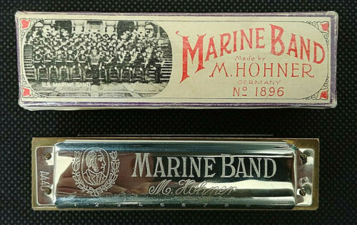 Hohner Marine Band Harmonica Vintage #1896 w/ box and Papers