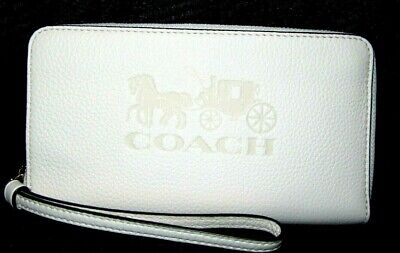 Coach Chalk Pebbled Leather Zip Around Large Phone Wallet  F75908 NWT $198