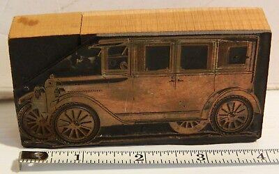 1920s Chevrolet Superior Sedan Letterpress Print Block Vintage
