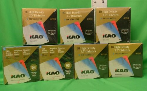 """KAO Diskettes MF 2HD 3.5"""" 10 Pack High Density IBM Formatted Floppy Discs NEW"""