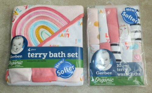 New Gerber Terry Bath Set and 10 Pack Washcloths Hooded Towel Rainbow Love You