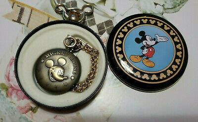 Disney Chased Mickey Mouse Pocket Watch with Chain & Original Box/Tin