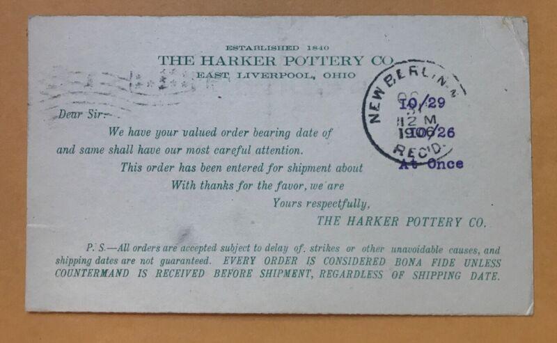 1906 Postcard The Harker Pottery Co East Liverpool Ohio