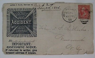 1898 Masonic Accident Assn. Westfield, MA Assessment Notice Collector's Voucher