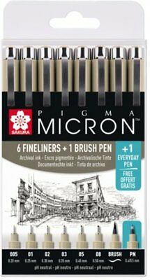 Sakura Pigma Micron Set Black Archival 6 x Fine Liner Pens,1 Brush Pen + FREE PN ()
