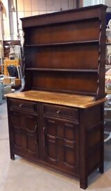 Oak Welsh Kitchen Dresser With Shelves, Drawers And Cabinets