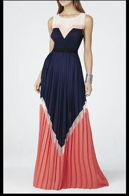 NWT $598 BCBG MAXAZRIA DRESS KATHERINE XS S 0 2 4 6 BEIGE RED PLEATED BLUE