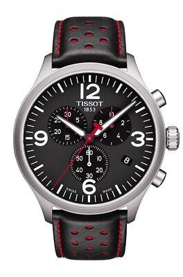 New Tissot Chrono XL Black Dial Mens Leather Strap Watch T1166171605702