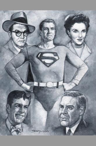 Sanjulián Signed Superman TV Series Original Art Painting George Reeves w/ Lois