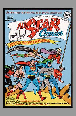 Art of DC Comic SIGNED Post Card Irwin Hasen JSA All Star 36 Batman Superman