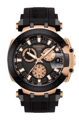 New Tissot T-Race Rose-Tone Black Rubber Strap Men's Watch T1154173705100