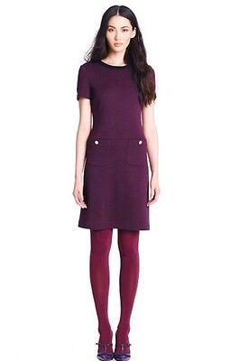 Tory Burch Burgundy With Black Trim Wool ANTHEA Dress Size Small NWT