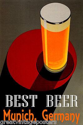 BEST BEER MUNICH GERMANY STOUT BLONDE PALE LAGER DARK ALE VINTAGE POSTER