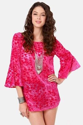 GYPSY JUNKIES BLOSSOM VELVET BERRY PINK TUNIC TOP S/M