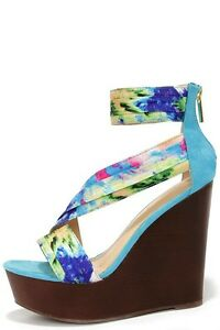 Printed Ankle Strap Wedges