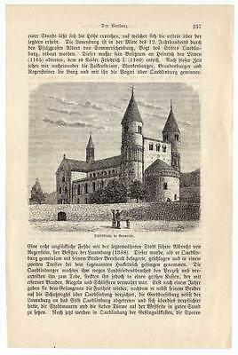 Gernrode-Harz-Stiftskirche original Holzstich um 1880
