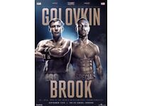Gennady Golovkin vs Kell Brook Boxing 2 x Tickets next to each other block 110 row S- London