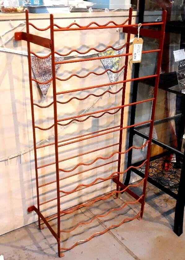 Vintage Red Metal 50 Bottle Wine Rack Free Standing Or Wall Mount