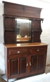 Antique Oak And Pine Mirror Back Welsh Kitchen Dresser With Shelves, Drawers And Cabinets