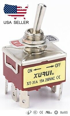 Heavy Duty 3pst On-off Toggle Switch 20a 125v 15a 250v Spade Terminals 31a