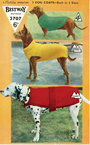 VINTAGE KNITTING PATTERN TO KNIT DOGS  COATS IN 3 SIZES - 1950's