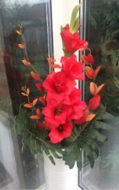 Gladiola Flame Tropical Flower Display - Arrangement set in a Tall White Vase