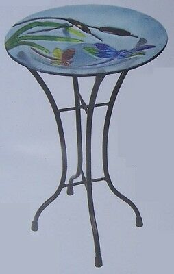 "Bird Feeder Bath Dragonfly Glass with metal stand NEW 11 1/2"" in diameter"