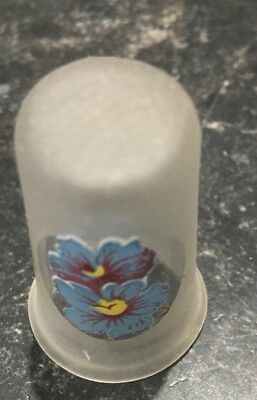 Nice Hand Painted Frosted Glass Thimble Floral