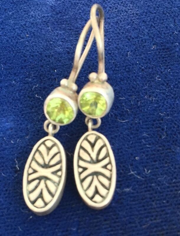 Cynthia Gale GeoArt Sterling Silver Peridot Drop Earrings Dangle .925